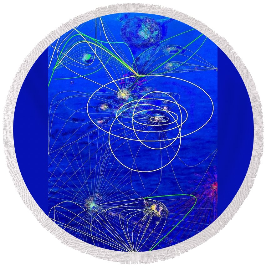 Abstract Round Beach Towel featuring the digital art Voyage by Ian MacDonald