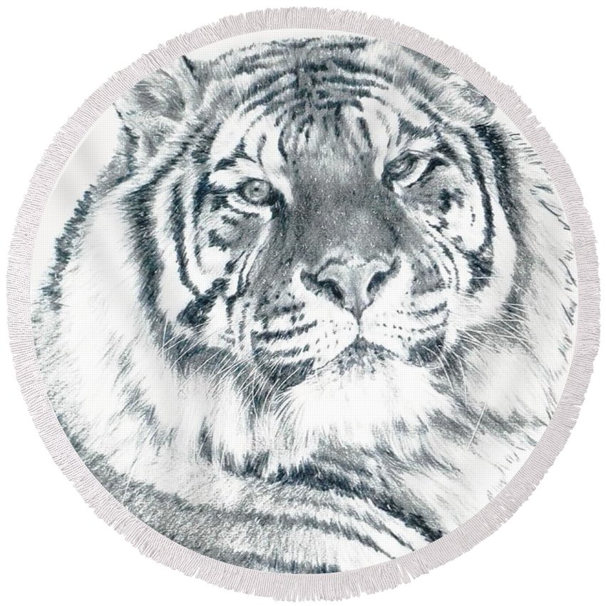 Tiger Round Beach Towel featuring the drawing Voyager by Barbara Keith