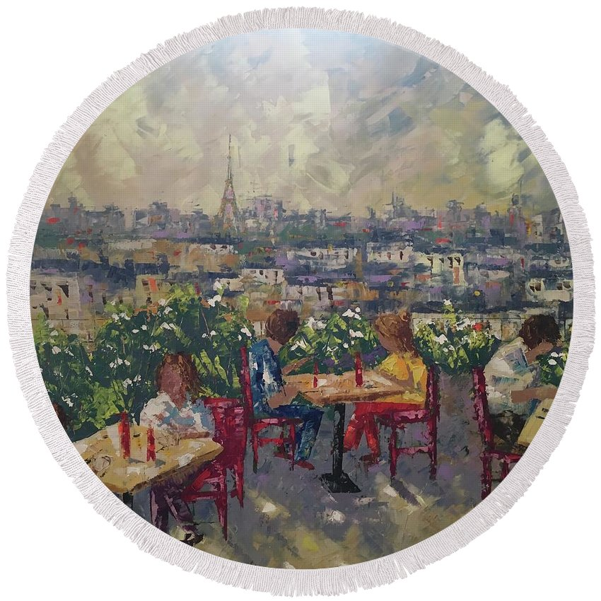 Frederic Payet Round Beach Towel featuring the painting Vue De Paris by Frederic Payet