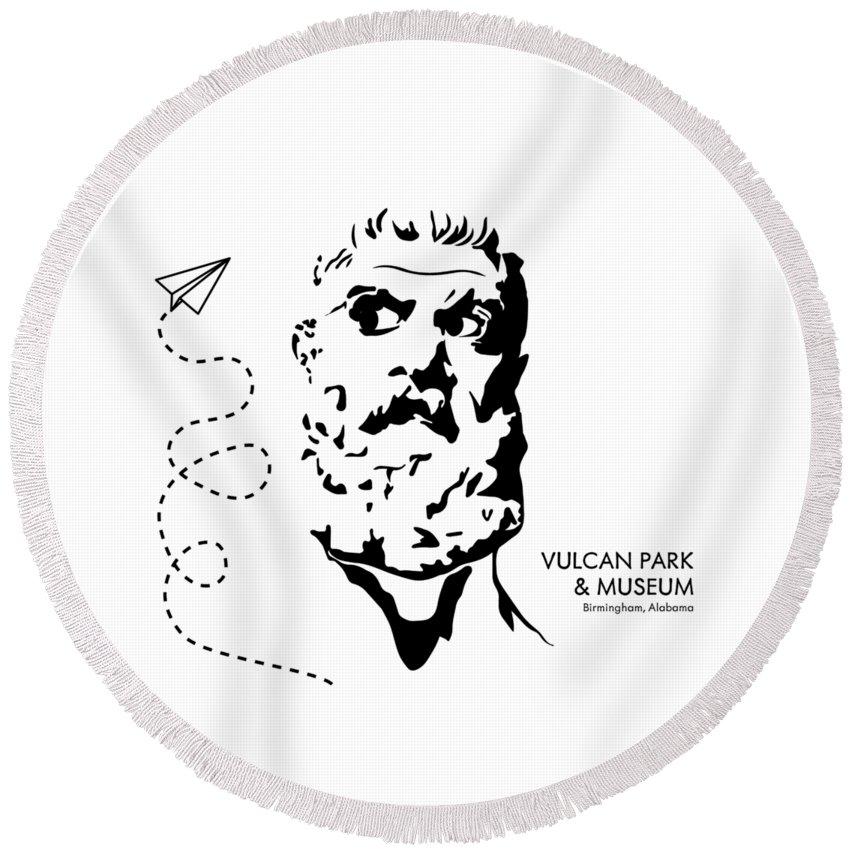 Vulcan Round Beach Towel featuring the digital art Vulcan's Airplane by Lori Earle