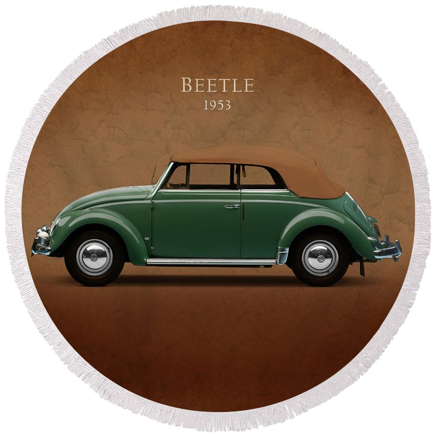 Vw Beetle Round Beach Towel featuring the photograph Vw Beetle 1953 by Mark Rogan