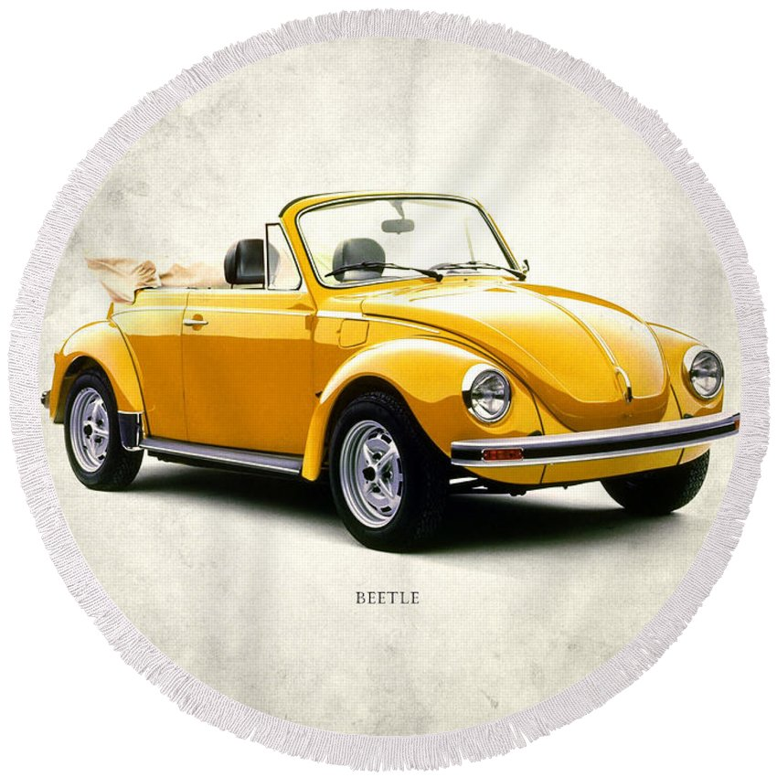 Vw Beetle Round Beach Towel featuring the photograph Vw Beetle 1972 by Mark Rogan