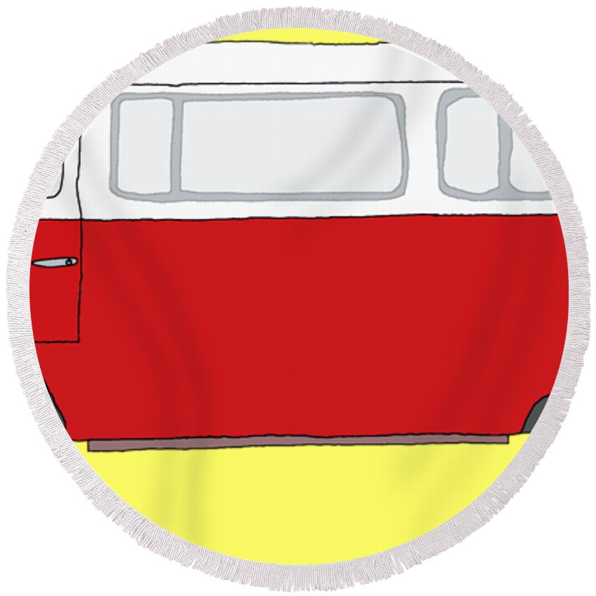 Vw Bus Round Beach Towel featuring the digital art Vw Bus by Priscilla Wolfe