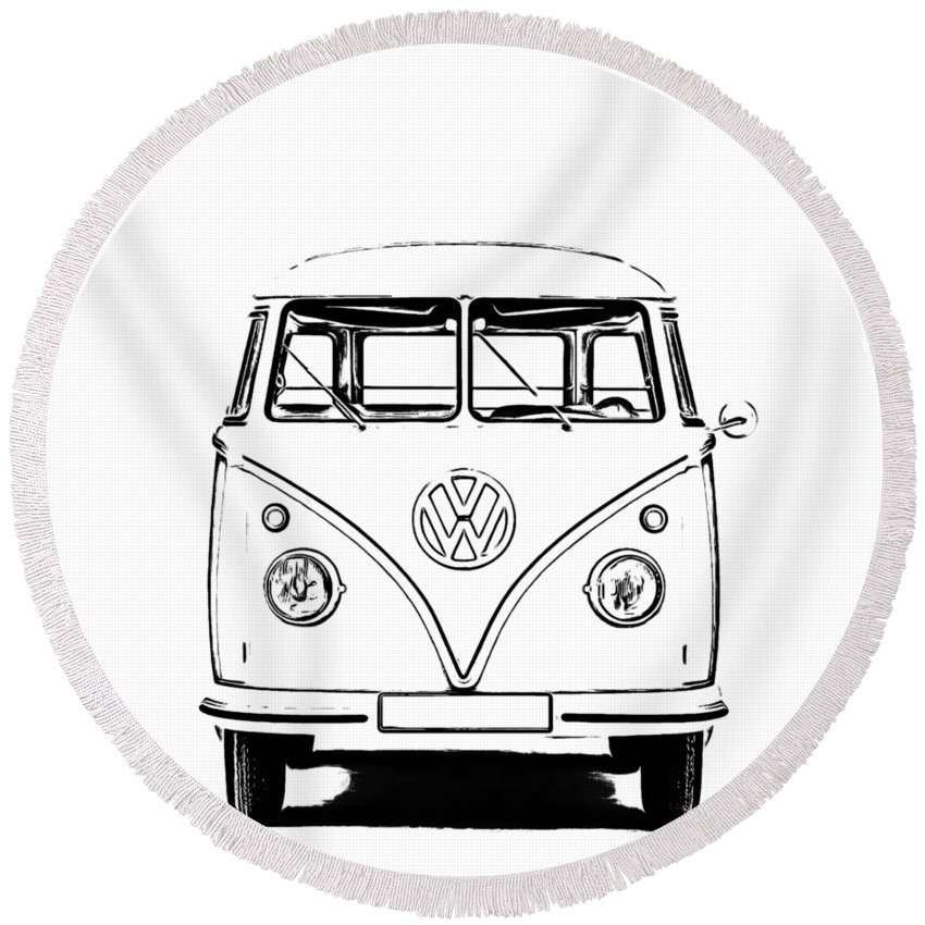 Vw Bus Photographs Round Beach Towels