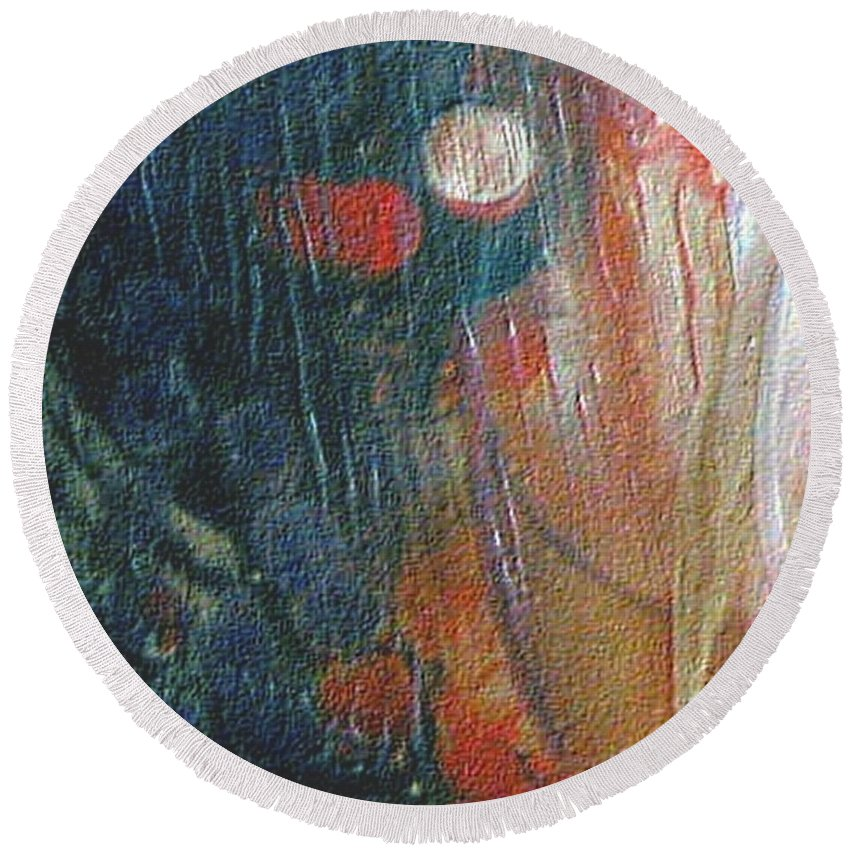 Double Moon Round Beach Towel featuring the painting W 003 - Double Moon by Dragica Micki Fortuna