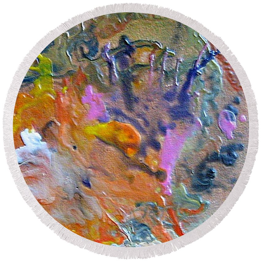 Abstract Round Beach Towel featuring the painting W 027 by Dragica Micki Fortuna