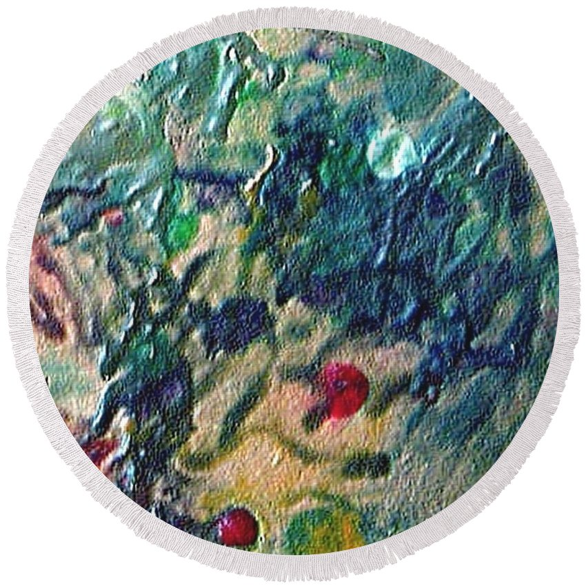 Abstract Round Beach Towel featuring the painting W 032 by Dragica Micki Fortuna
