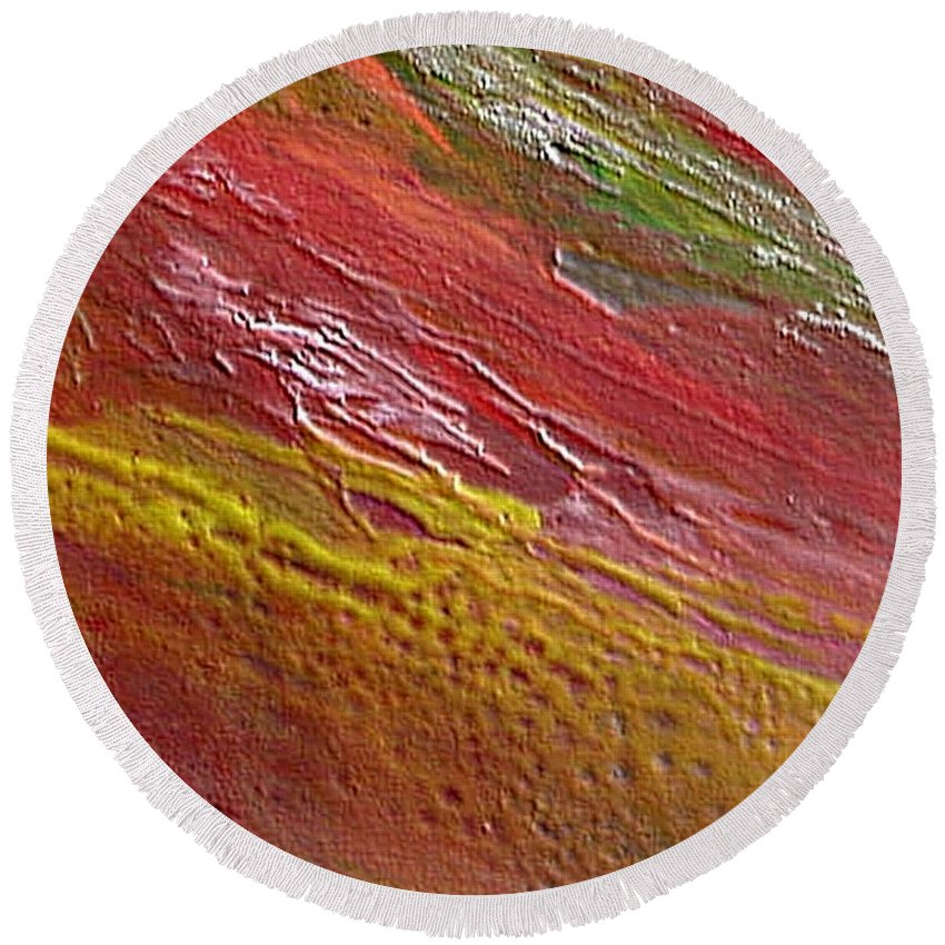 Encaustic Painting Round Beach Towel featuring the painting W 036 by Dragica Micki Fortuna