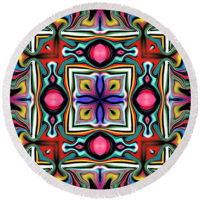 Square Round Beach Towel featuring the digital art Wace by Blind Ape Art