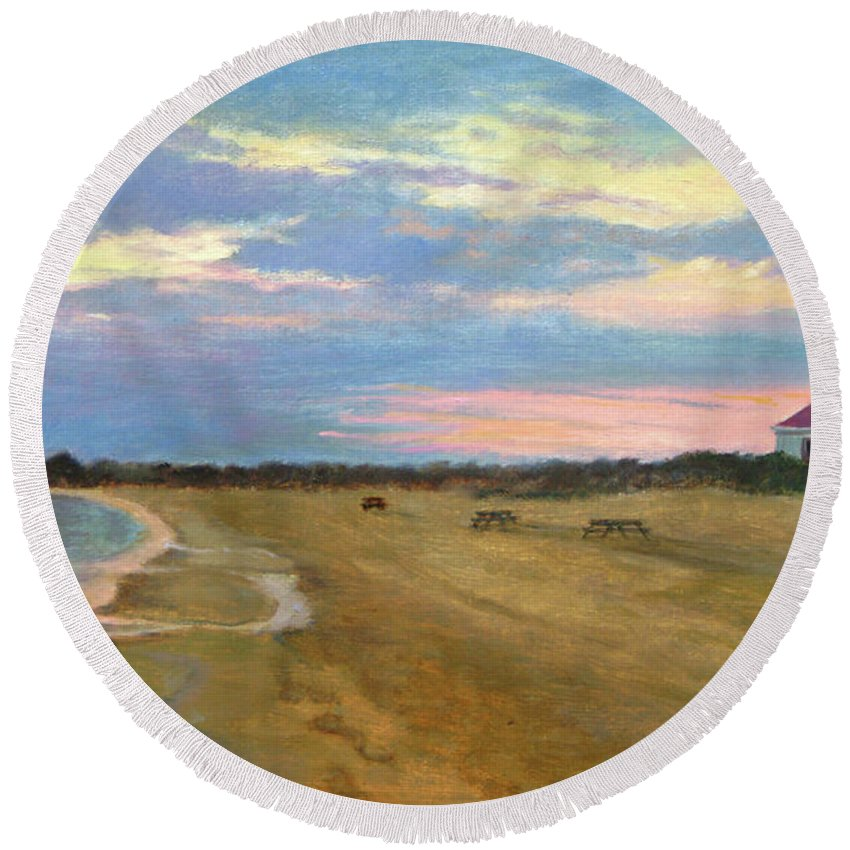Oil Landscape Round Beach Towel featuring the painting Wades Beach Sundown Study II by Phyllis Tarlow