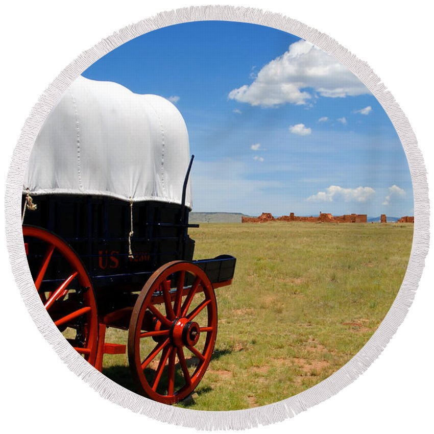 Fort Union New Mexico Round Beach Towel featuring the photograph Wagon At Old Fort Union by David Lee Thompson
