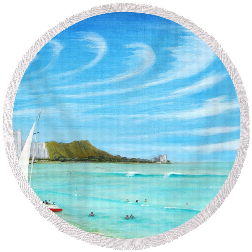 Waikiki Round Beach Towel featuring the painting Waikiki by Jerome Stumphauzer