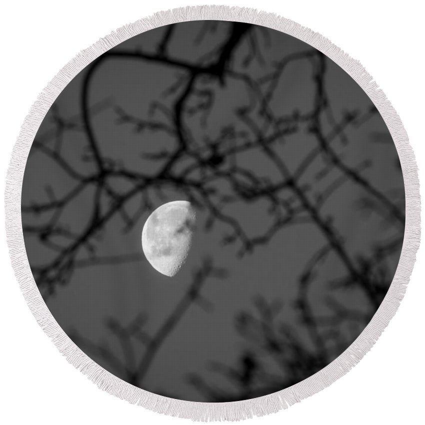 Waning Gibbous Round Beach Towel featuring the photograph Waning Black And White by Michele James