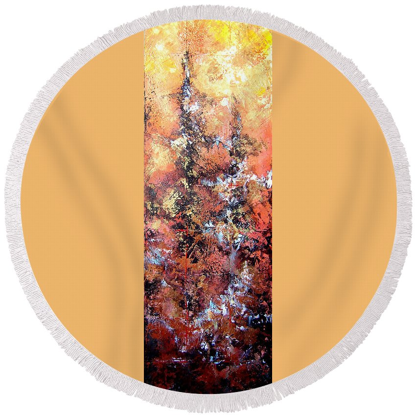 Tile Round Beach Towel featuring the painting Wait For Sleep by Shadia Derbyshire