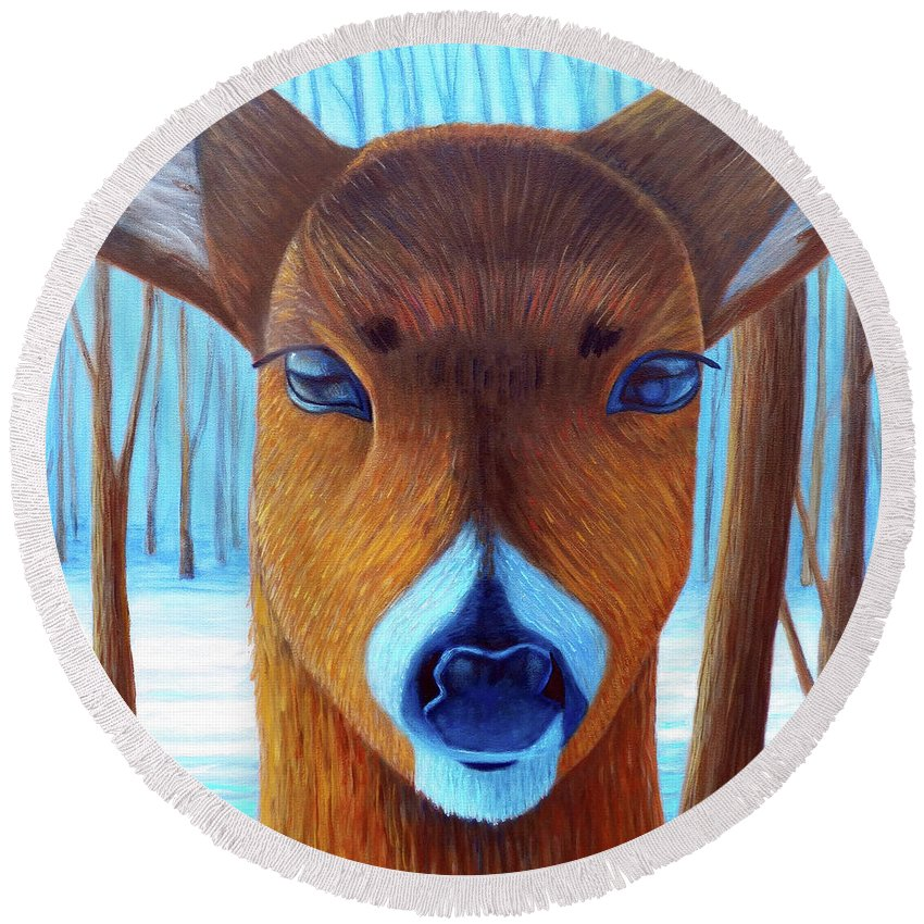Deer Round Beach Towel featuring the painting Wait For The Magic by Brian Commerford