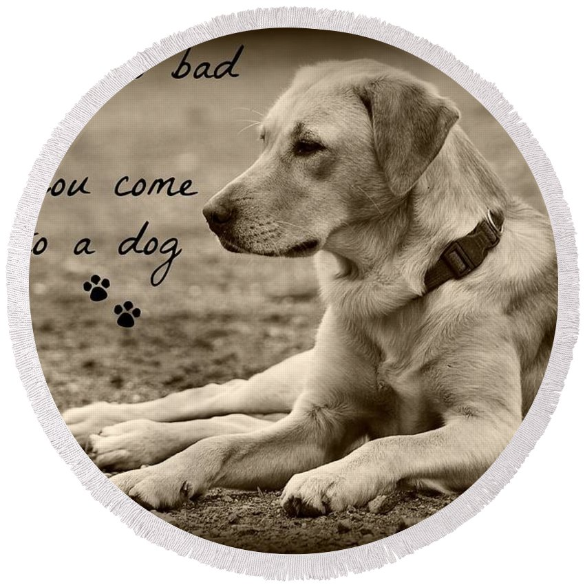 Dog Round Beach Towel featuring the photograph Waiting by Clare Bevan