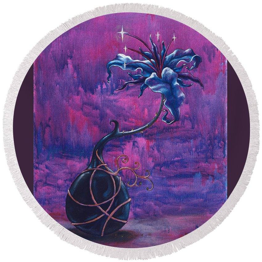 Lily Round Beach Towel featuring the painting Waiting Flower by Jennifer McDuffie