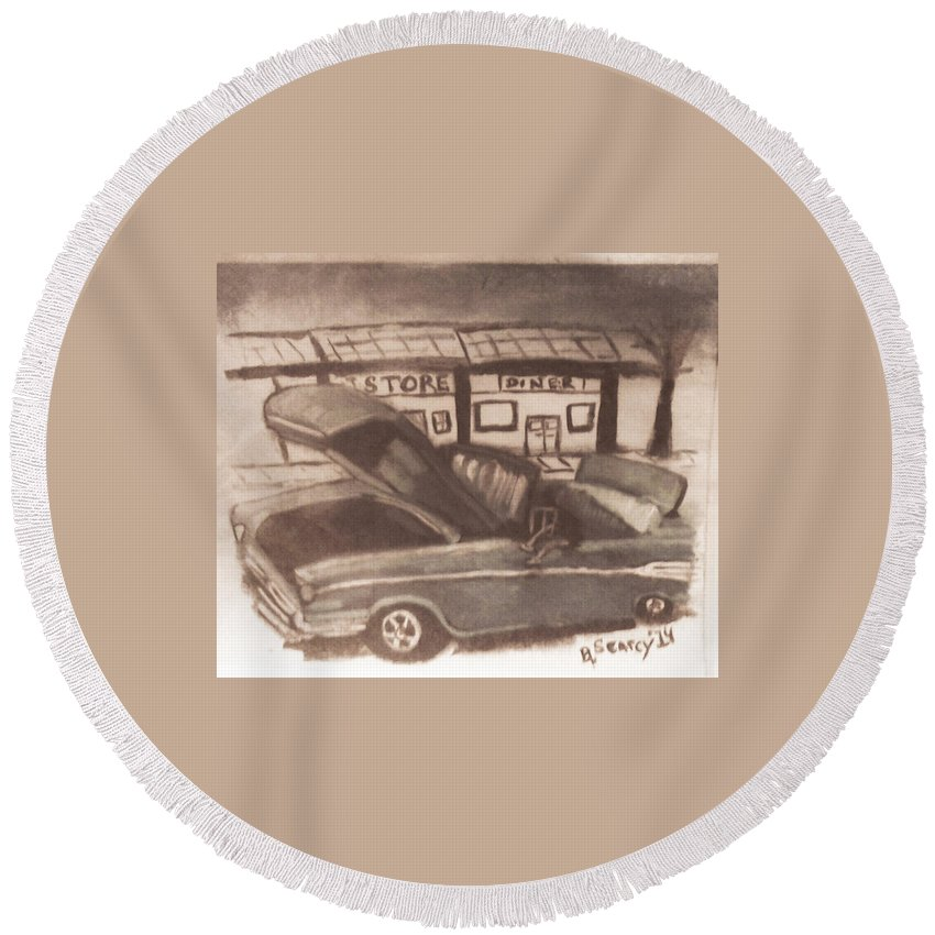 Classic Car Round Beach Towel featuring the painting Waiting For Service- Sephia by Barbara Searcy