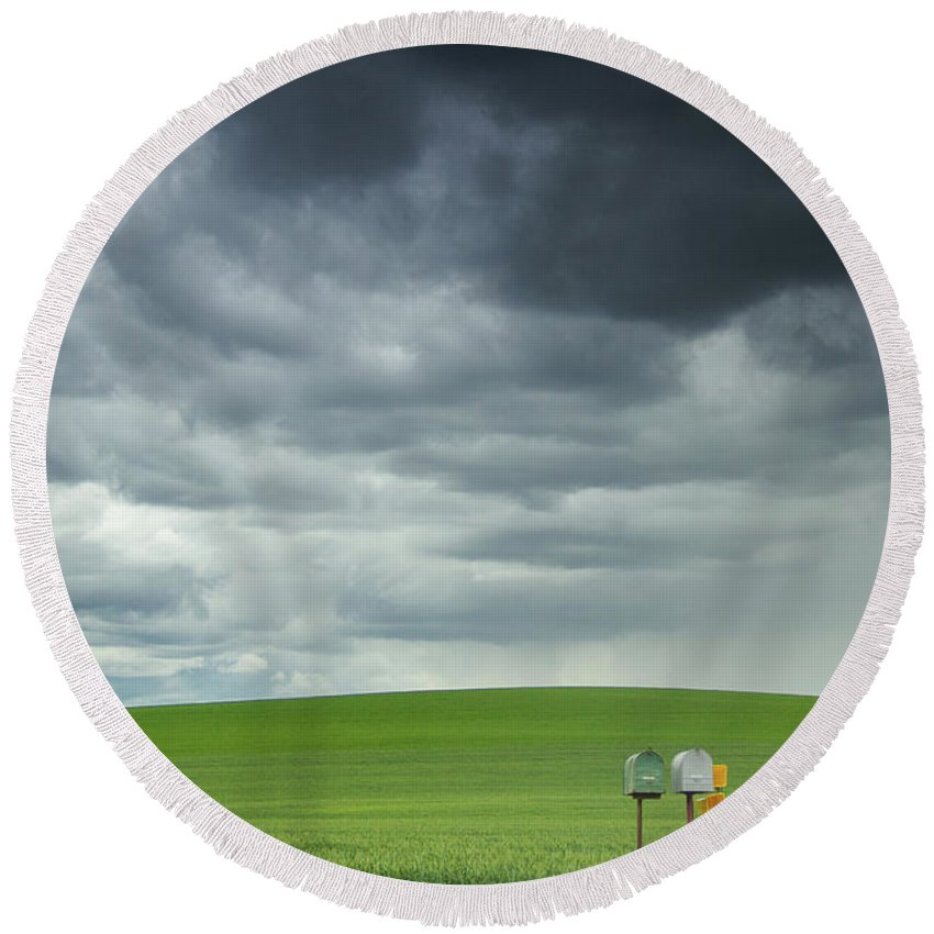 Palouse Rolling Fields Round Beach Towel featuring the photograph Waiting For Something by Kunal Mehra