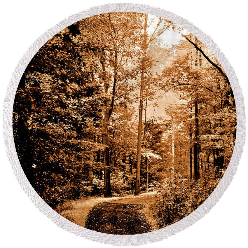 Landscape Round Beach Towel featuring the photograph Waiting For Spring by Lori Tambakis