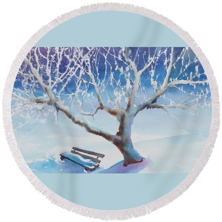 Snow Round Beach Towel featuring the painting Waiting For Spring by Ruth Kamenev