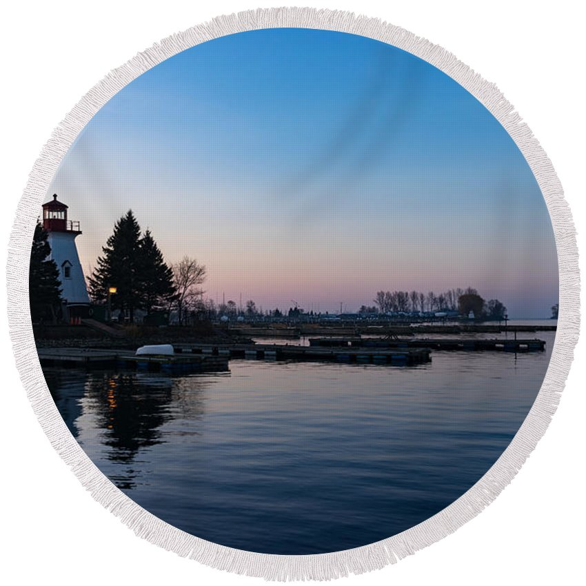 Georgia Mizuleva Round Beach Towel featuring the photograph Waiting For Sunrise - Blue Hour At The Lighthouse Infused With Soft Pink by Georgia Mizuleva