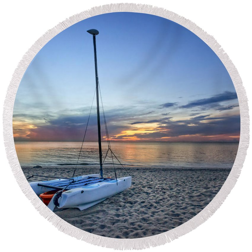 Boats Round Beach Towel featuring the photograph Waiting For Sunrise by Debra and Dave Vanderlaan