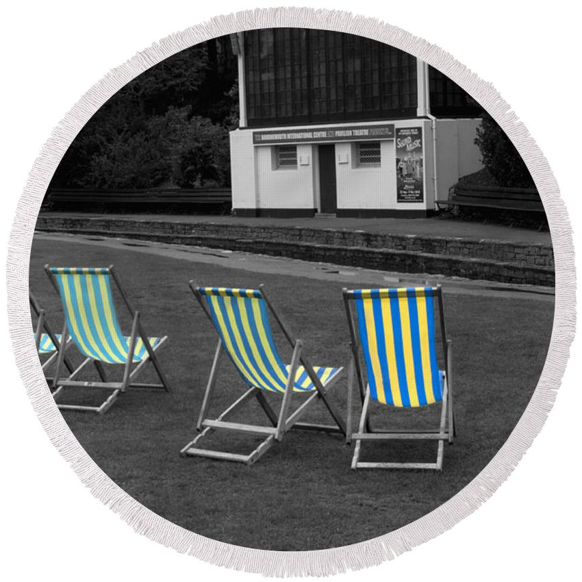 Deckchair Round Beach Towel featuring the photograph Waiting For The Band by Chris Day