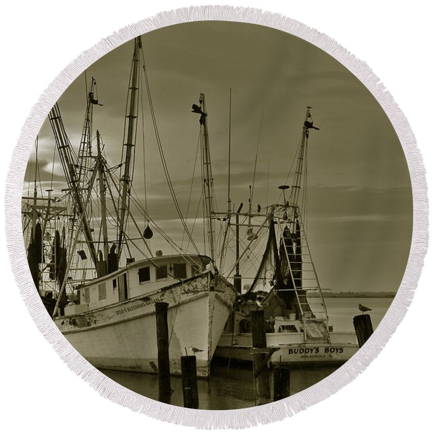 Shrimp Boats Round Beach Towel featuring the photograph Waiting For The Big Catch by Susanne Van Hulst