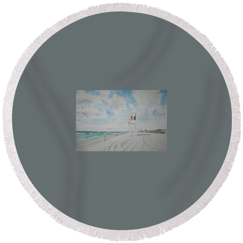 Ocean Round Beach Towel featuring the painting Waiting For The Lifeguard by Tom Harris