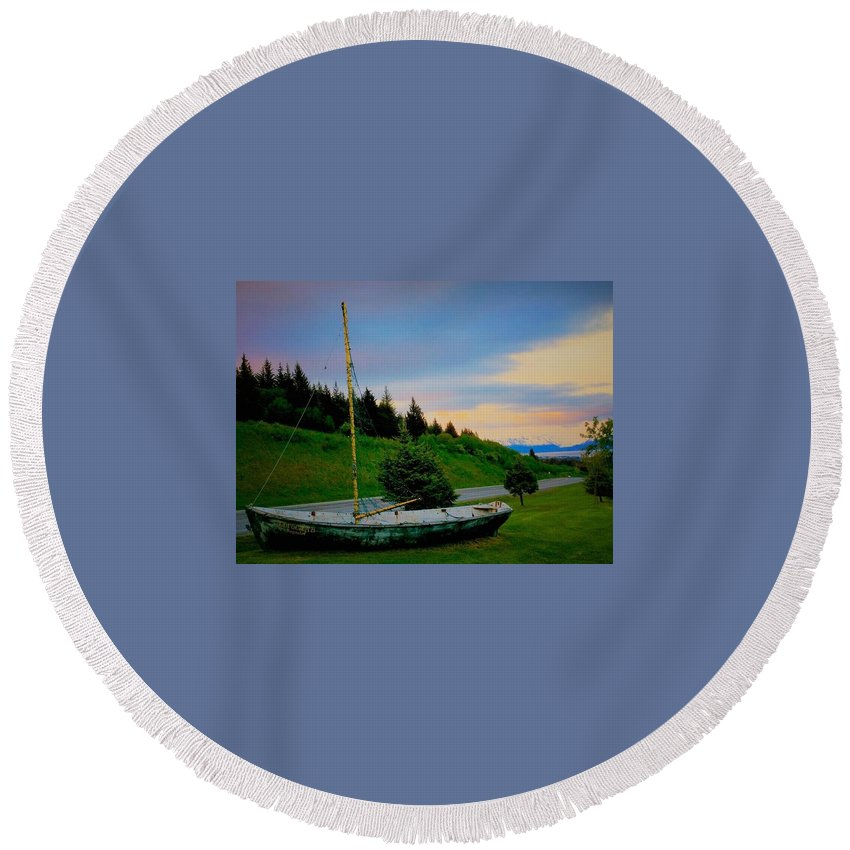 Landscape Round Beach Towel featuring the photograph Waiting For The Tide by Jacque Lenew