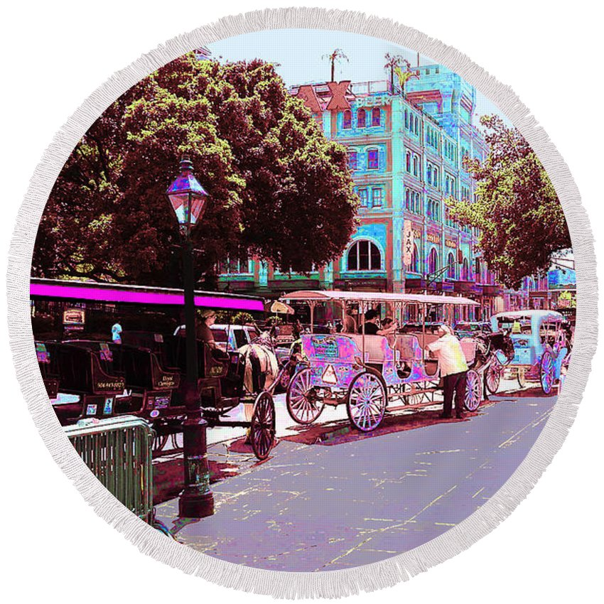 New Orleans Round Beach Towel featuring the digital art Waiting For Tourists by CHAZ Daugherty