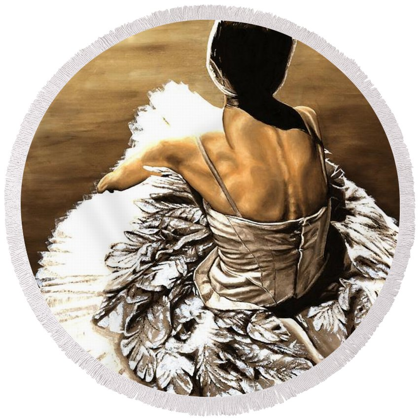 Ballet Round Beach Towel featuring the painting Waiting In The Wings by Richard Young