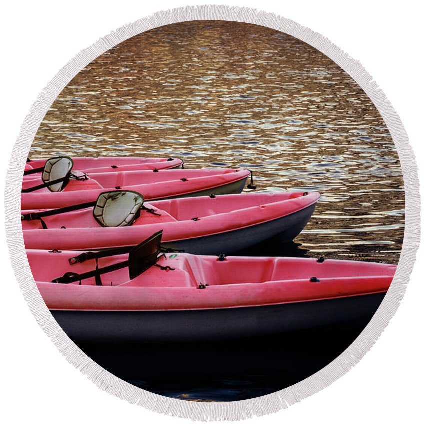 Kayaks Round Beach Towel featuring the photograph Waiting Kayaks by Robert Anastasi