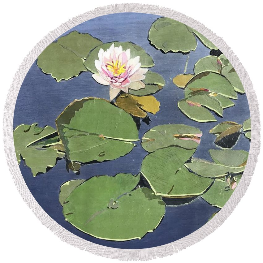 Recycled Round Beach Towel featuring the painting Waiting Lotus by Leah Tomaino
