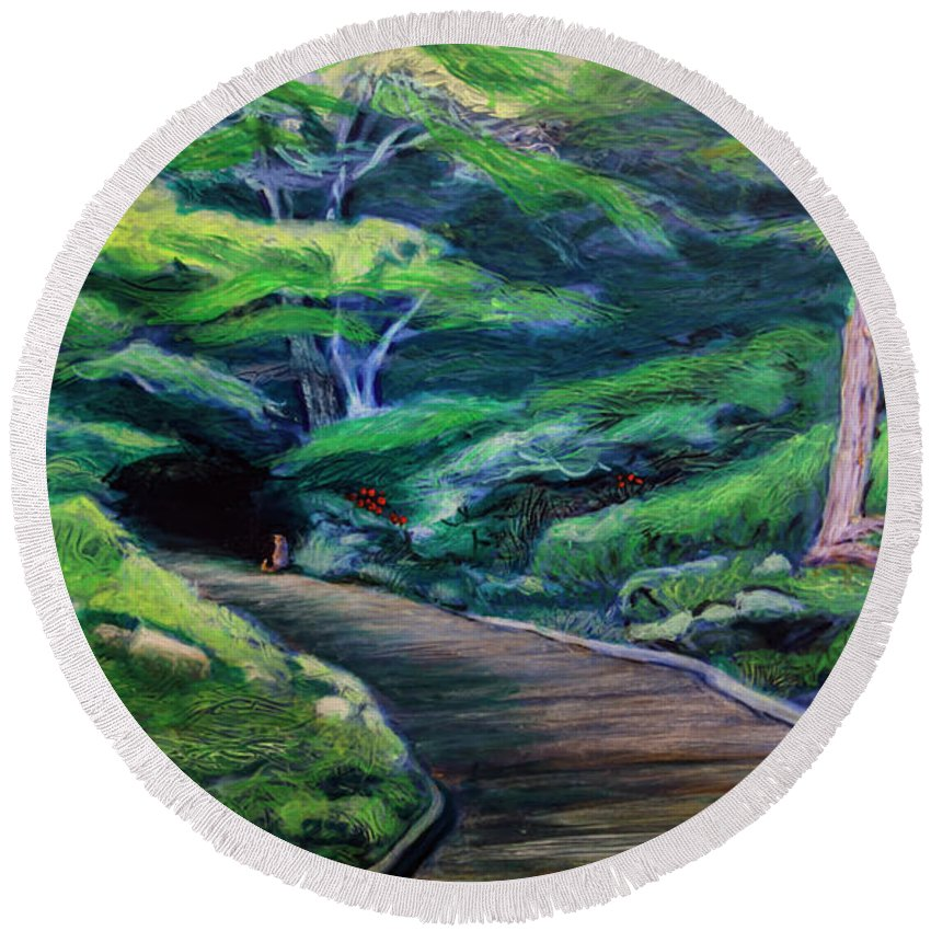 Landscape Round Beach Towel featuring the painting Waiting by Ron Richard Baviello