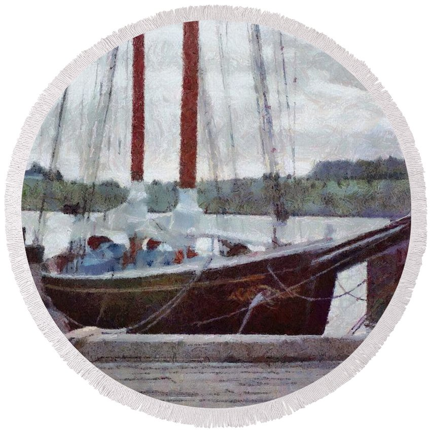 Canadian Round Beach Towel featuring the painting Waiting To Sail by Jeffrey Kolker