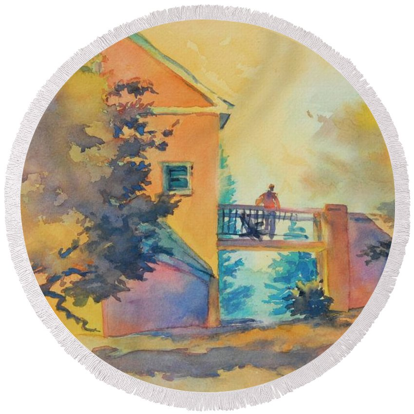 Watercolor Round Beach Towel featuring the painting Waiting Until The Evening Comes by Virgil Carter