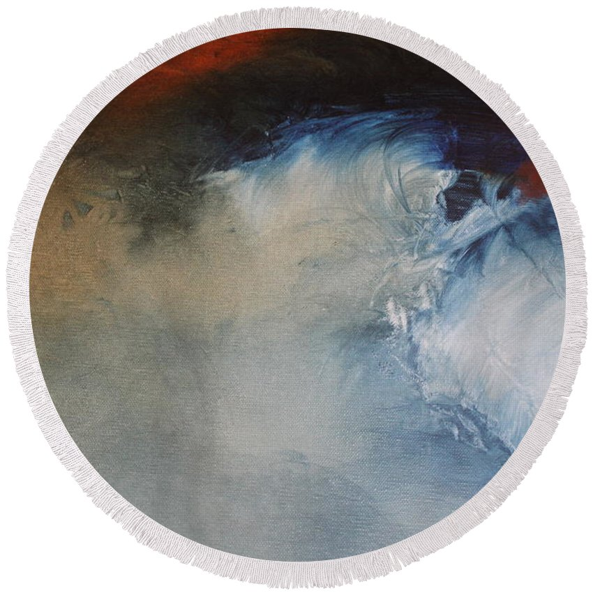 Abstract Round Beach Towel featuring the painting Waives by Carmem Gusmao