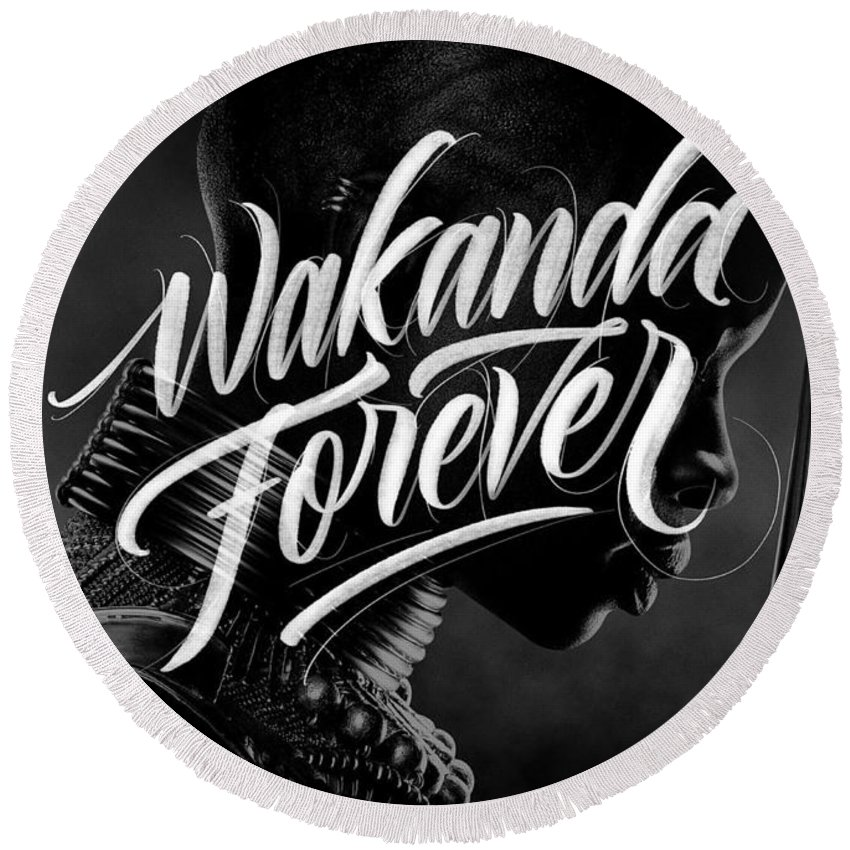 Round Beach Towel featuring the digital art Wakanda Forever Okoye by Ion