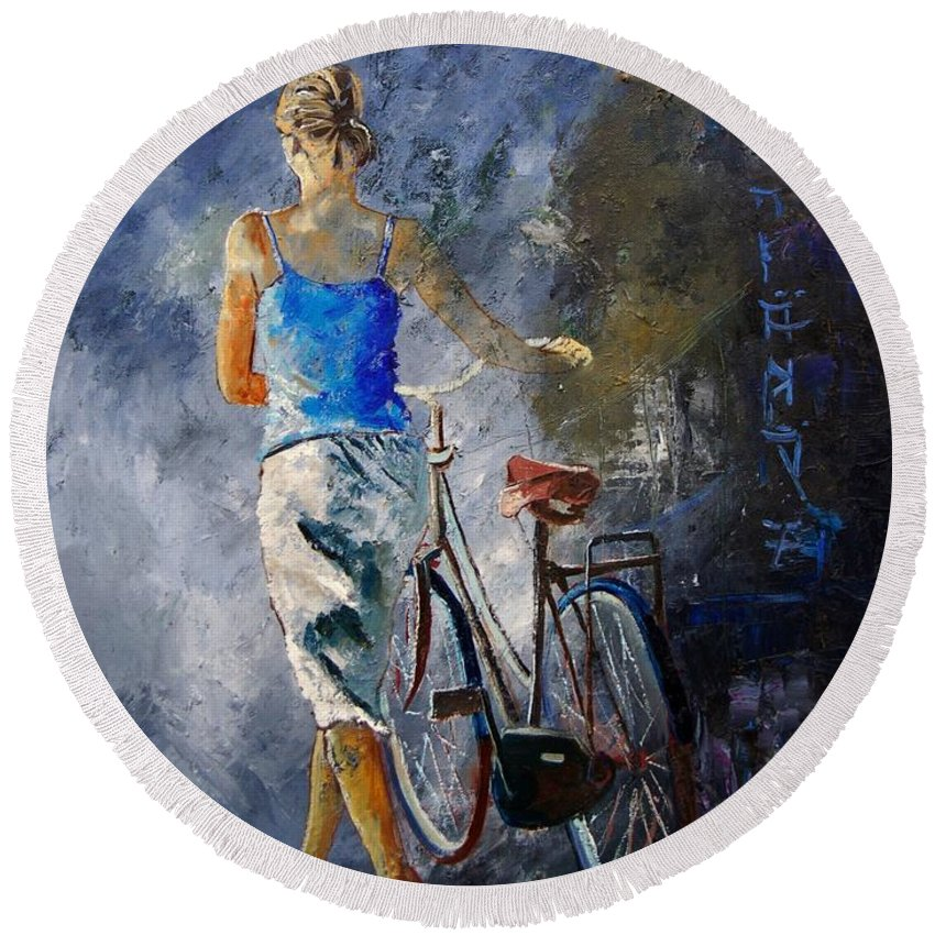Girl Round Beach Towel featuring the painting Waking Aside Her Bike 68 by Pol Ledent