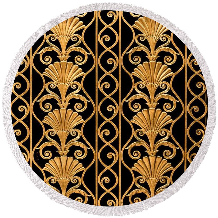 Round Beach Towel featuring the photograph Waldorf Astoria Art Deco Grille by Betsy Foster Breen