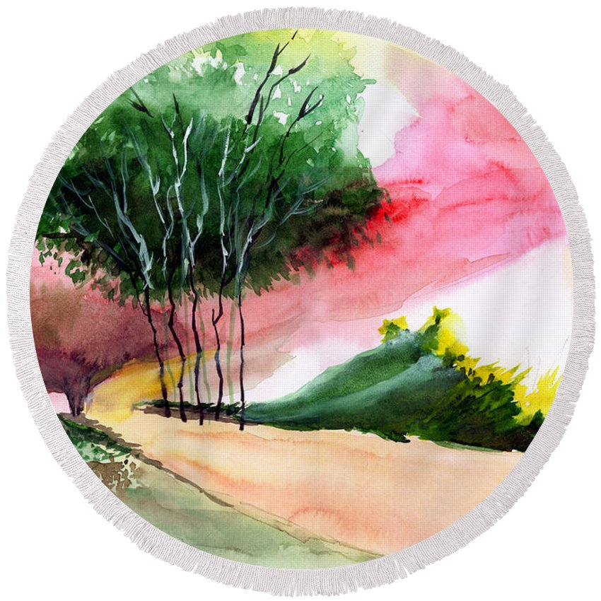 Watercolor Round Beach Towel featuring the painting Walk Away by Anil Nene