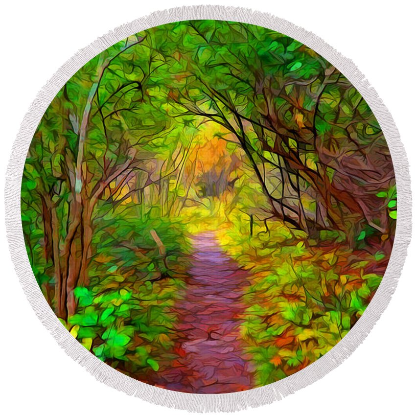 Digital Painting Round Beach Towel featuring the painting Walk In The Woods by Lilia D