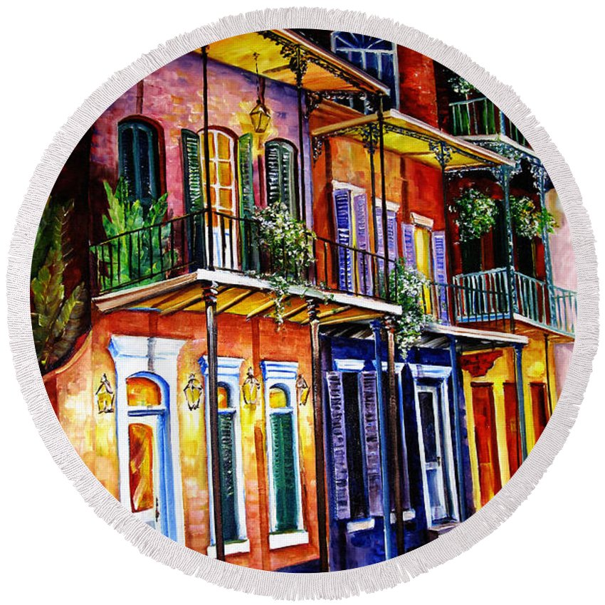 New Orleans Paintings Round Beach Towel featuring the painting Walk Into The French Quarter by Diane Millsap