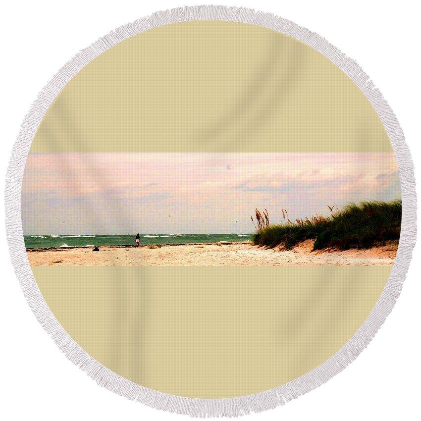 Florida Round Beach Towel featuring the photograph Walk The Beach by Ian MacDonald