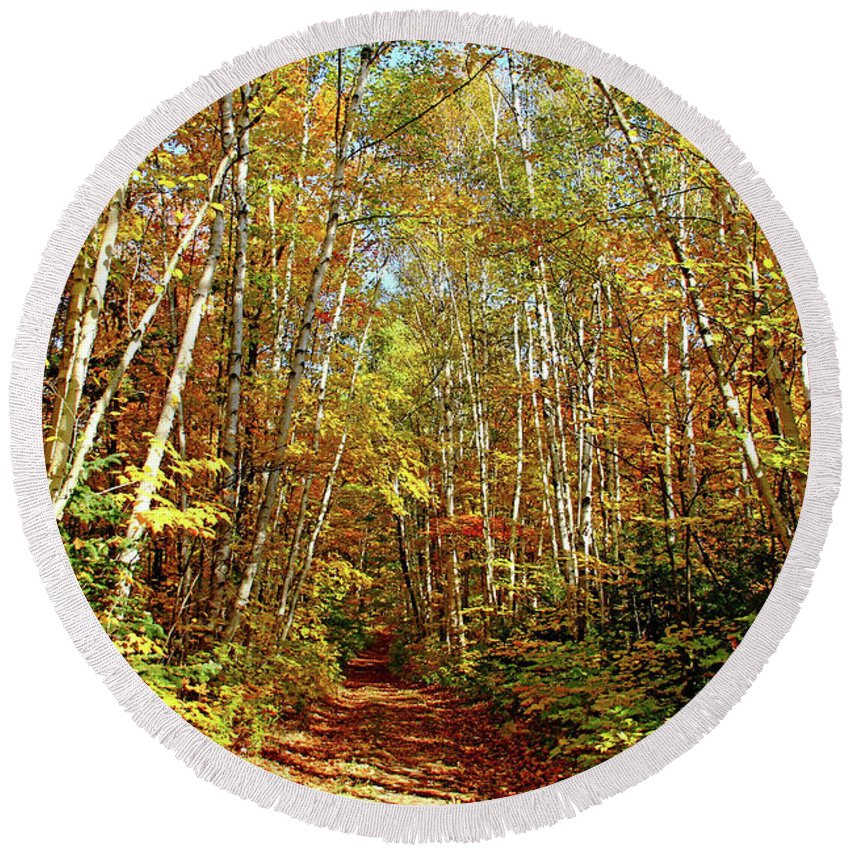Killarney Provincial Park Round Beach Towel featuring the photograph Walk This Way by Debbie Oppermann