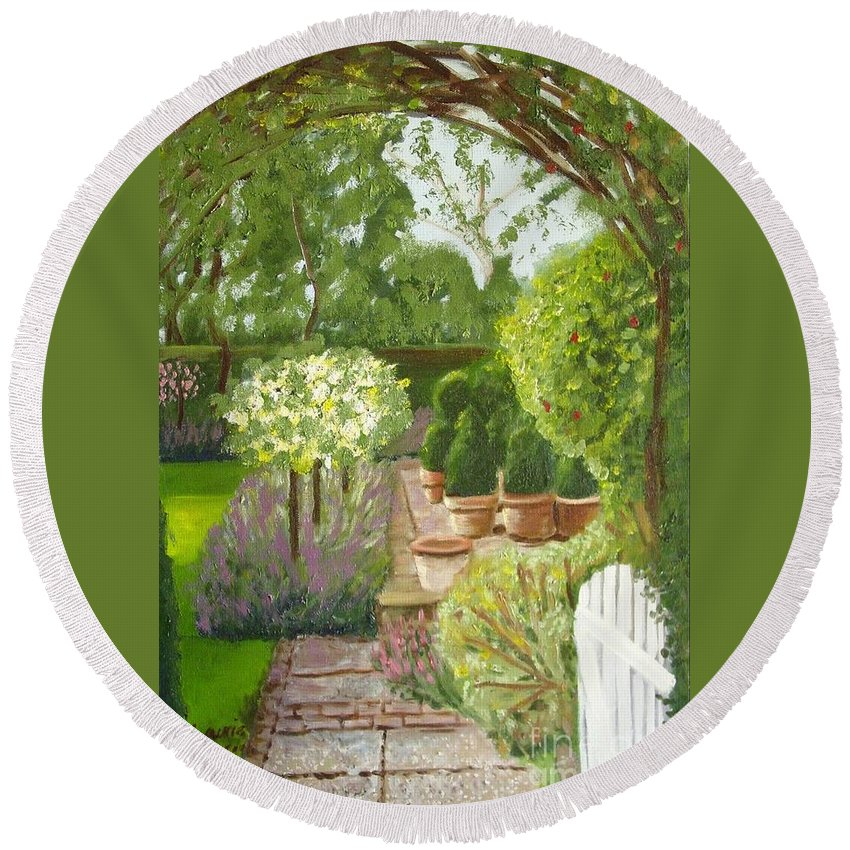 Garden Round Beach Towel featuring the painting Walk With Me by Laurie Morgan