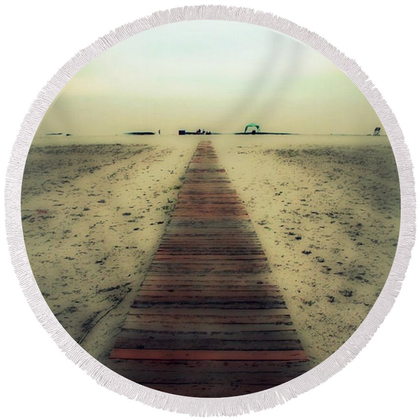Nature Round Beach Towel featuring the photograph Walk With Me by Linda Sannuti