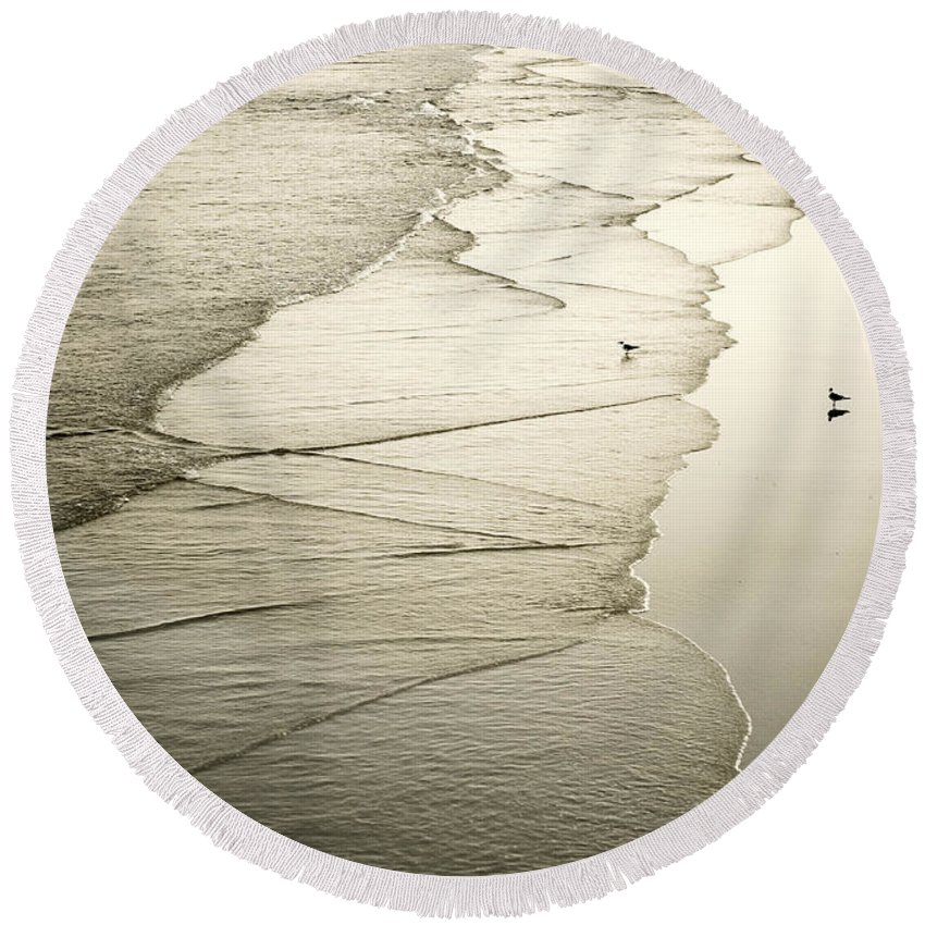 Ocean Round Beach Towel featuring the photograph Walking Along The Beach At Sunrise by Marilyn Hunt